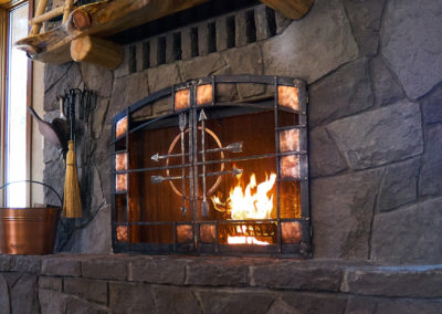 Steel fireplace doors