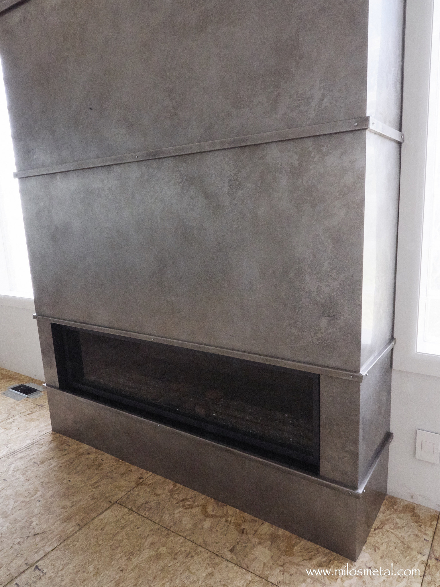 Volcanic Stainless Steel Fireplace Panels In Gray Ash Color