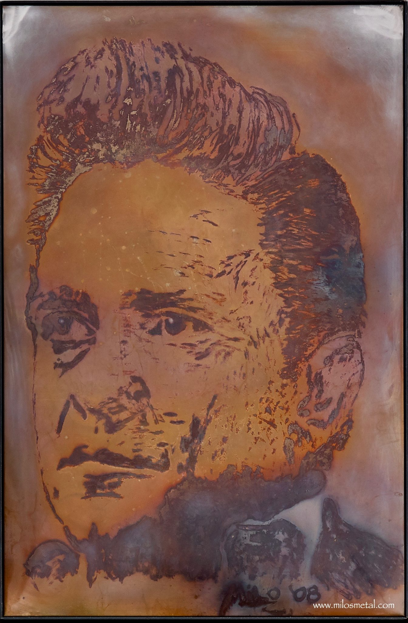 Johnny Cash - Volcanic Stainless Steel Painting