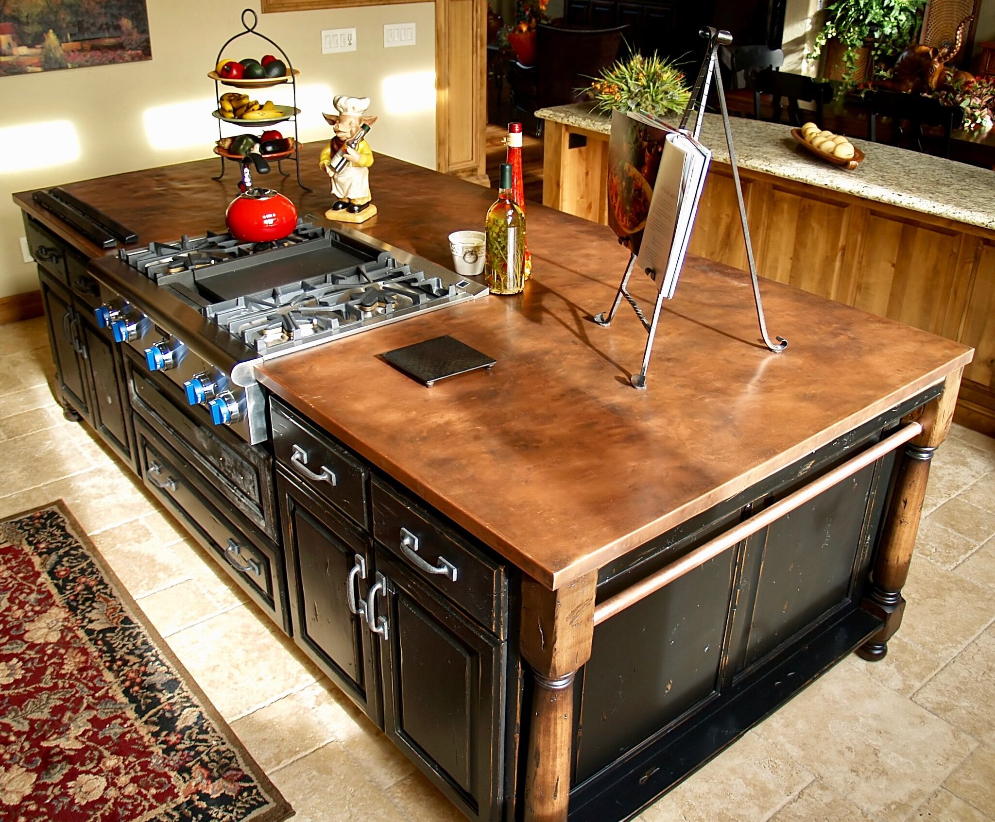 Copper countertop on island