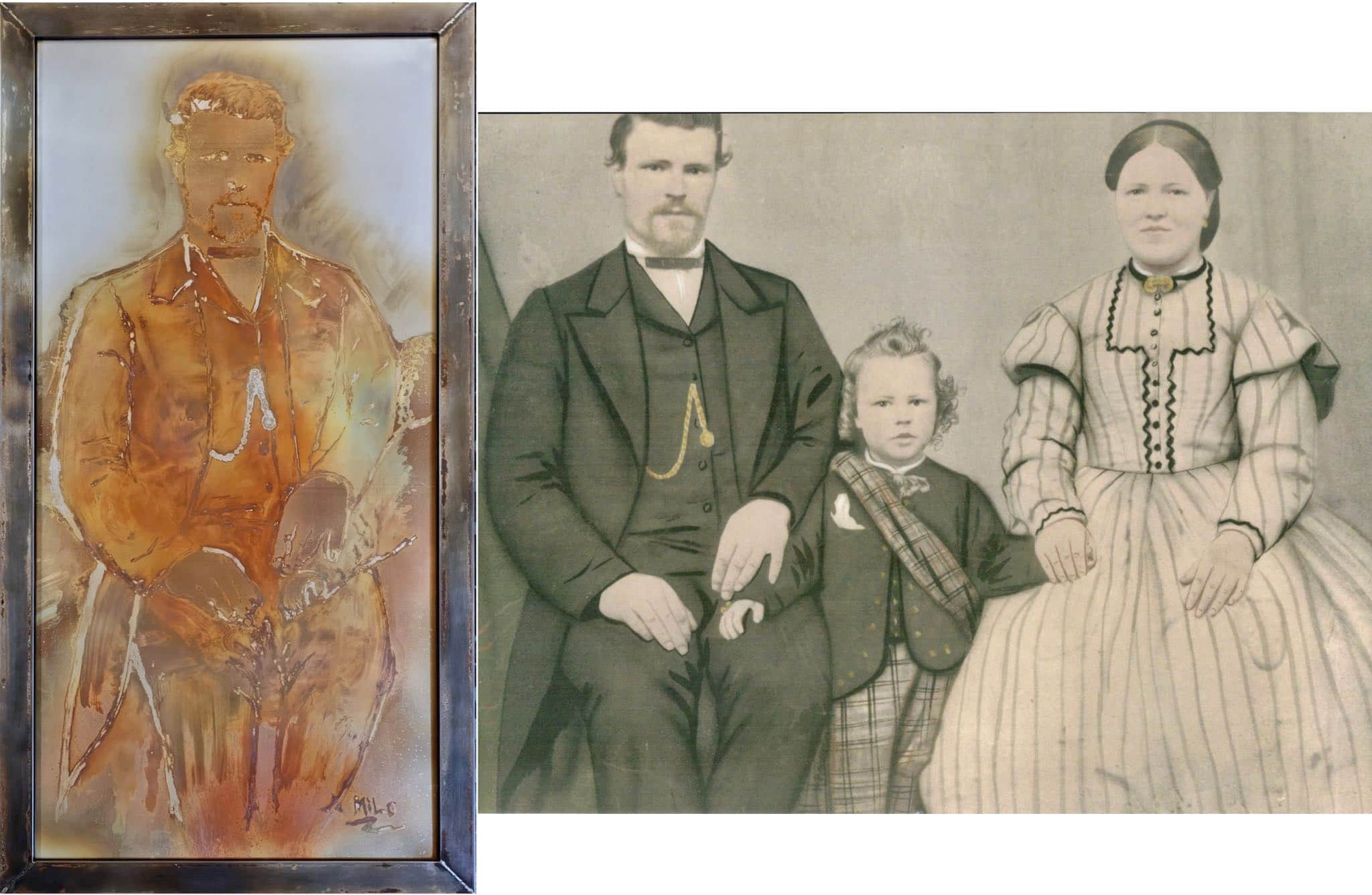 """""""Portrait of an Immigrant"""" 27""""x51"""" Samuel Faddies and family"""