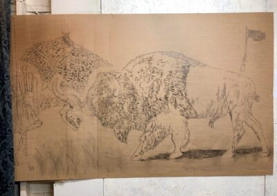 Death of the Bisons charcoal sketch