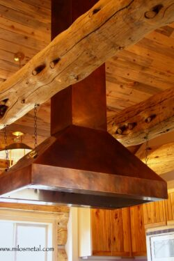 copper island kitchen hood