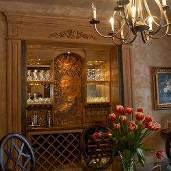 copper countertop and embossed panel