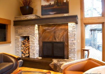 volcanic stainless fireplace surround